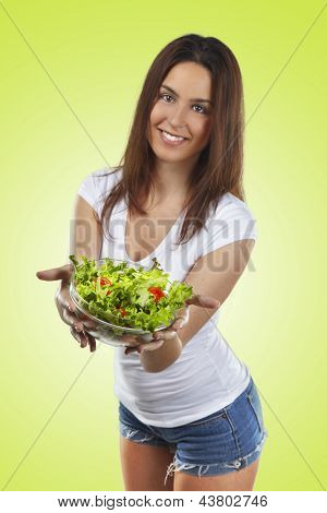 Healthy Lovely Woman With Salad On Green Background