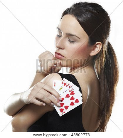 Sexy Young Woman With Poker Cards