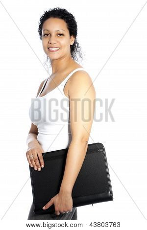 African American Woman Carrying A File