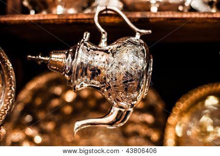 Set Of Arabic Nana Mint Tea With Metal Tea Pot And Glasses