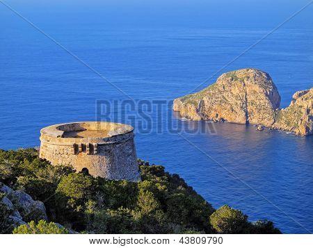 Famous Tower Of Savinar On Ibiza Island