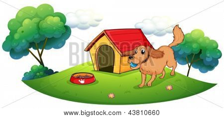 Illustration of a dog playing with a blue ball near a doghouse on a white background