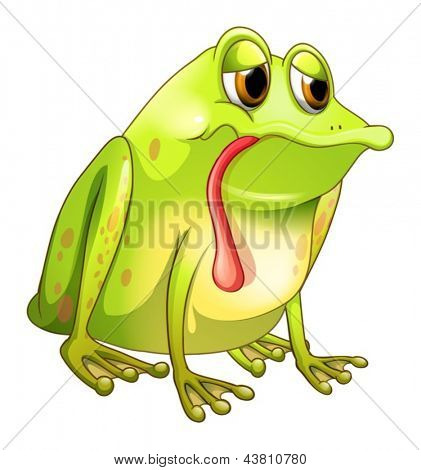 Illustration of a tired green frog on a white background