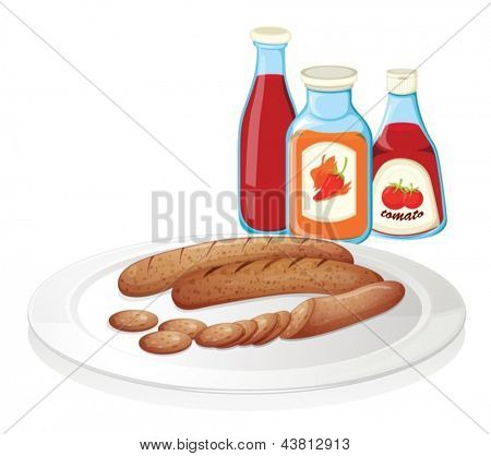 Illustration of a plate of sausage with ketchups on a white background