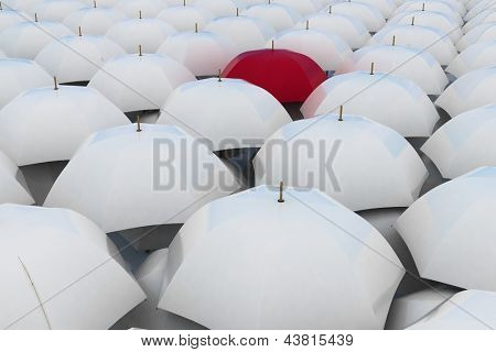 Red umbrella among other white umbrellas poster