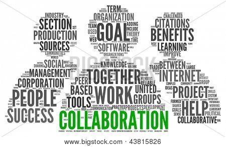 Conceito de colaboração na nuvem de Tags de palavra isolado no fundo branco