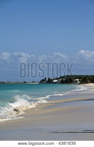 Waves Crashing To The Shore In Antigua