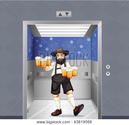 Abbildung von einem Kellner mit Krug Bier am Aufzug
