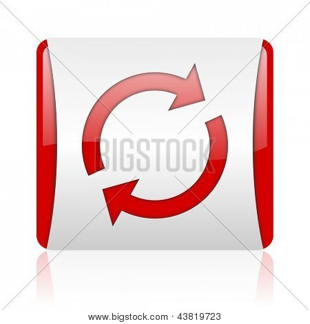 reload red and white square web glossy icon