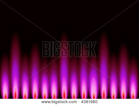 An abstract background in landscape format representing flame styled shapes in pink set on a black base background. poster