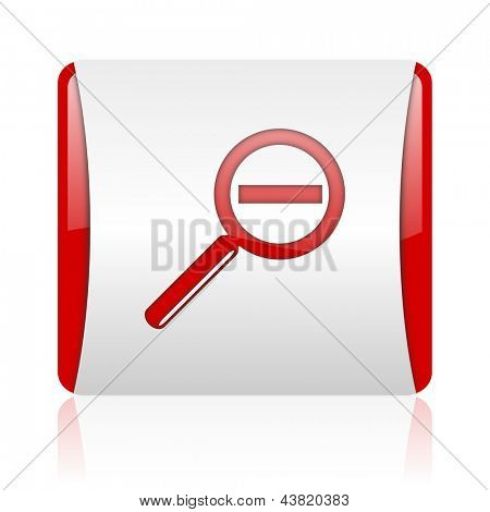 magnification red and white square web glossy icon