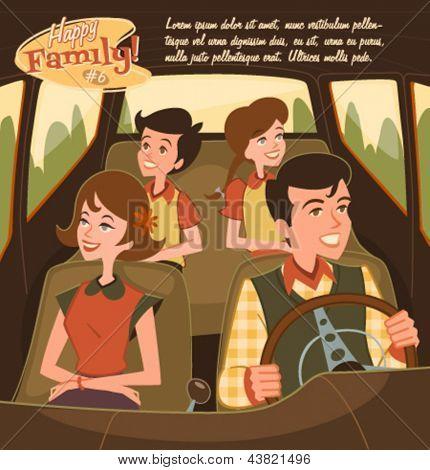 Retro family illustration