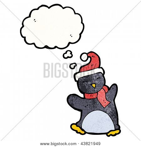 funny penguin cartoon with thought bubble poster
