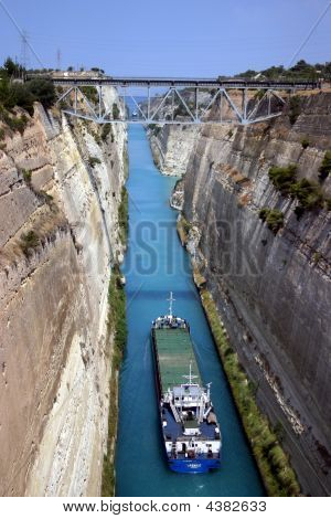 Boat In Corinth Canal