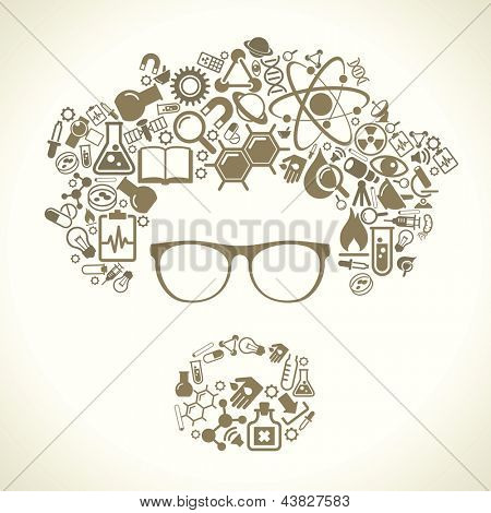 human face is made up of icons of science. The concept of learning, research and discovery. Modern technological solutions. Vector illustration