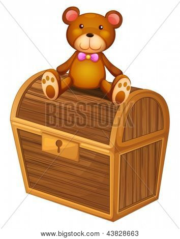 Illustration of a bear at the top of a treasure chest on a white background