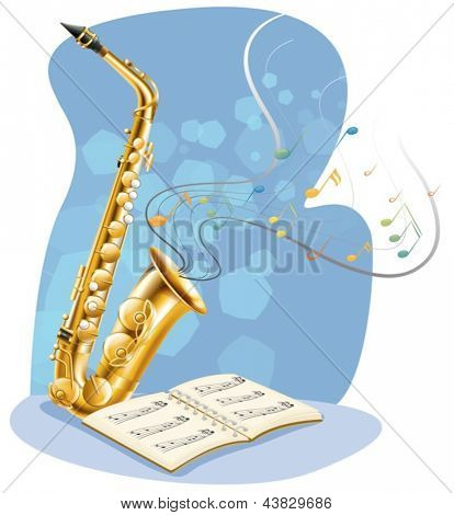 Illustration of a saxophone with a musical book on a white background