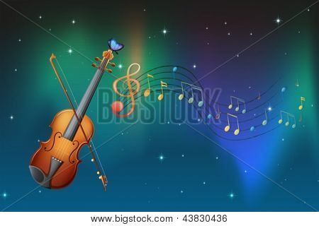 Illustration of a string instrument with a butterfly and musical notes