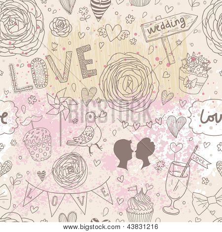 Wedding seamless pattern. Ideal for wedding invitations. Save the date background in vintage style.  Seamless pattern can be used for wallpapers, pattern fills, web page background, surface textures.