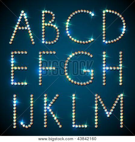 Shiny diamond alphabet letters - eps10