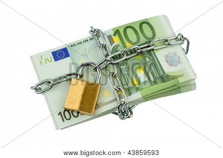euro bank notes with a chain and padlock. symbolic photo for security and inflation.