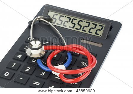 stethoscope and calculator, photo icon for billing and medical costs