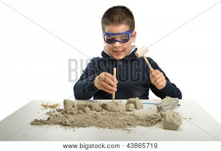 Child archaeologist excavating dinosaur skeleton isolated on white background