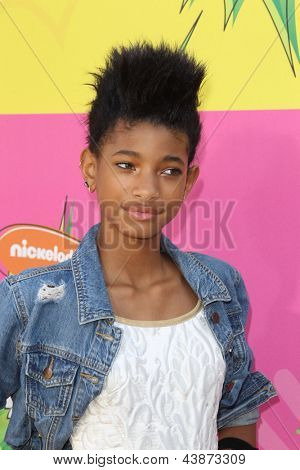 LOS ANGELES - MAR 23:  Willow Smith arrives at Nickelodeon's 26th Annual Kids' Choice Awards at the USC Galen Center on March 23, 2013 in Los Angeles, CA