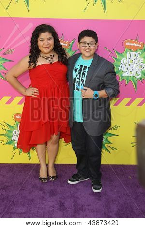 LOS ANGELES - MAR 23:  Raini Rodriguez, Rico Rodriguez arrive at Nickelodeon's 26th Annual Kids' Choice Awards at the USC Galen Center on March 23, 2013 in Los Angeles, CA