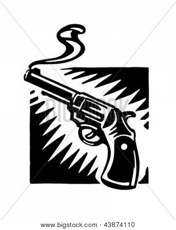 Smoking Gun - Retro Clip Art Illustration