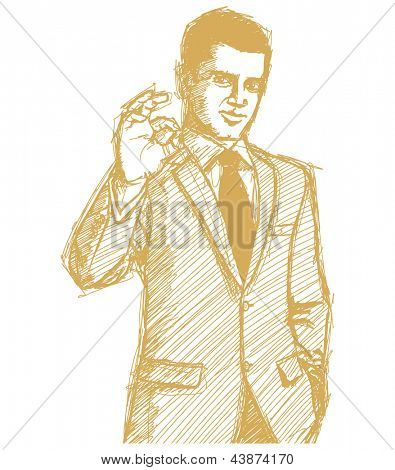 Sketch, comics style happy businessman in suit shows OK, looking on camera