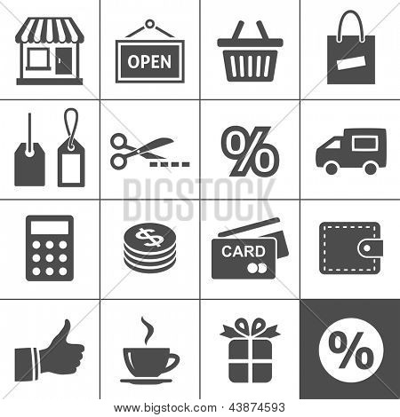 Shopping Icon Set. Simplus series