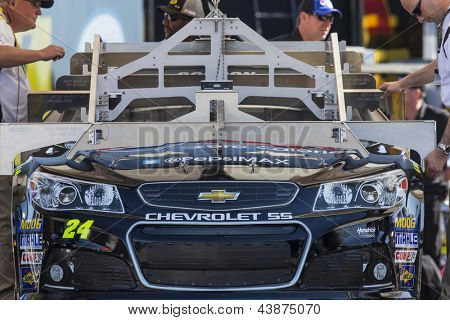 AVONDALE, AZ - MAR 01, 2013:  The Pepsi MAX Chevrolet is inspected before qualifying for the Subway Fresh Fit 500 at Phoenix International Raceway in Avondale, AZ on Mar 01, 2013.