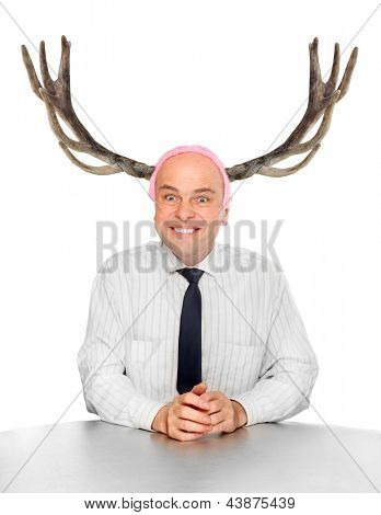 Funny picture of an stupid manager (husband) with great antlers.