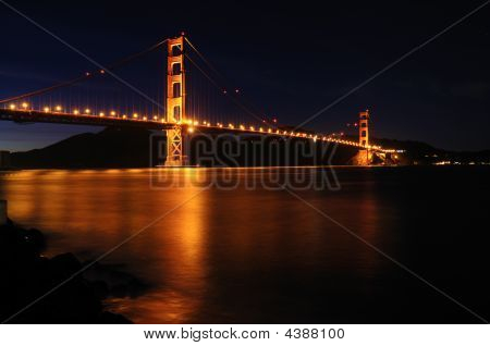 Glowing Golden Gate Bridge From Fort Point