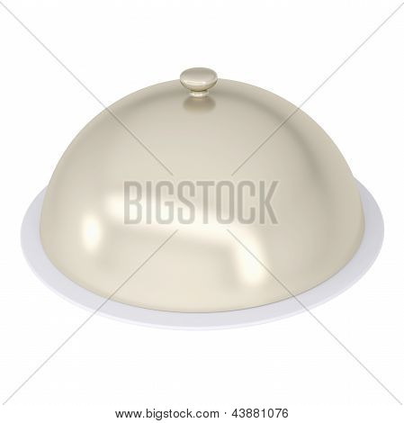 Glossy ceramic salver dish with an cover over it