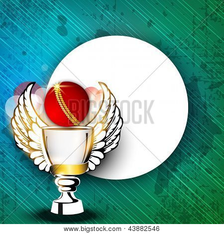 Sports background with shiny cricket ball, trophy with wings and blank space on grungy green background.