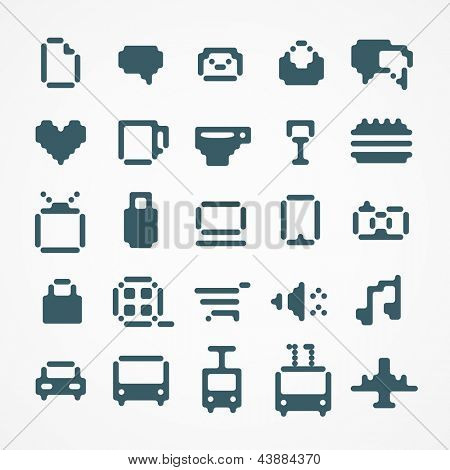 Pixel web icons collection. set 2