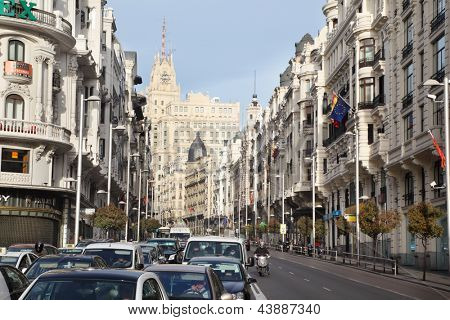 MADRID - MAR 8: Cars at Gran Via street, Mar 8 2012, Madrid, Spain. In late 1930s, modern Gran Via while called Avenida de Rusia, then Avenida de la Union Sovietica, then Prospect Street Jose Antonio.