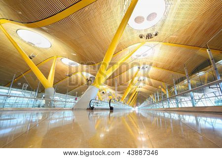 MADRID - MARCH 7: Light hall in Madrid Barajas Airport, March 7, 2012 in Madrid, Spain. Barajas - airport of registry Spanish airline Iberia Airlines, which provides more than 60% of passenger traffic