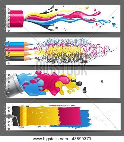 4 bright CMYK banners