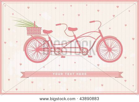 vintage card with pink bicycle