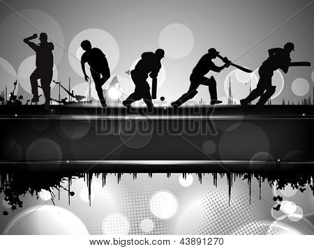 Silhouettes of a cricket batsman and bowlers in playing action on abstract background.