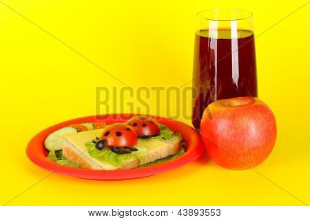 Fun food for kids on yellow background