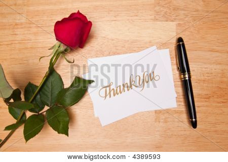 Thank You Card, Pen And Red Rose