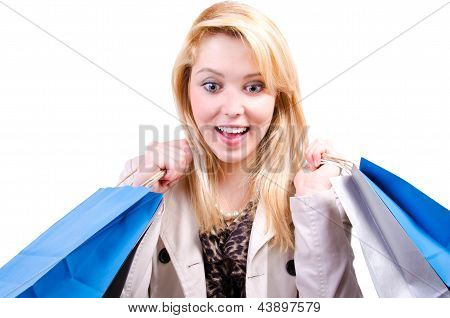 Young Beautiful Blonde Caucasian Woman Looking Downwards Surprised At Copyspace
