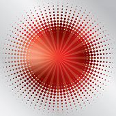 Abstract red background design bursting in halftone poster