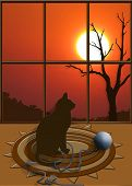 At the end of the day print with a cat sitting staring out a window at the sunset. poster