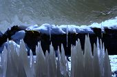 Closeup of transparent ice structure in spring poster