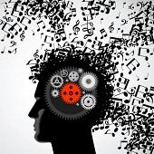 Vector illustration of abstract. man face silhouette in profile with musical hair and gears poster
